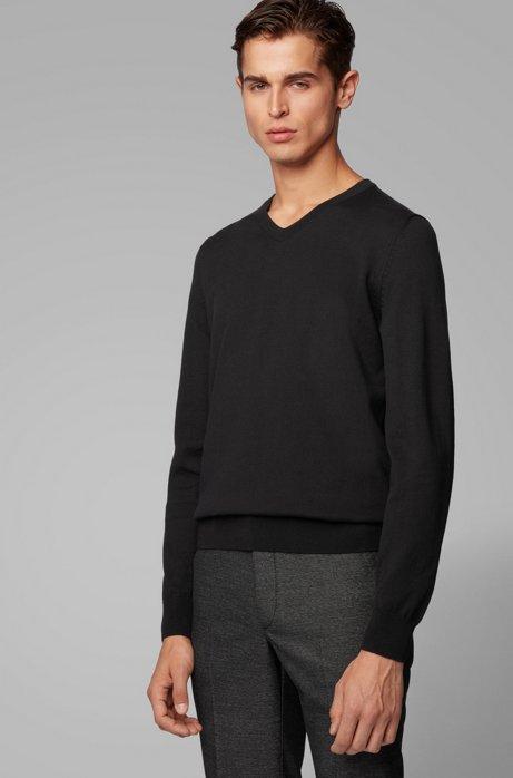 V-neck sweater in pure cotton, Black