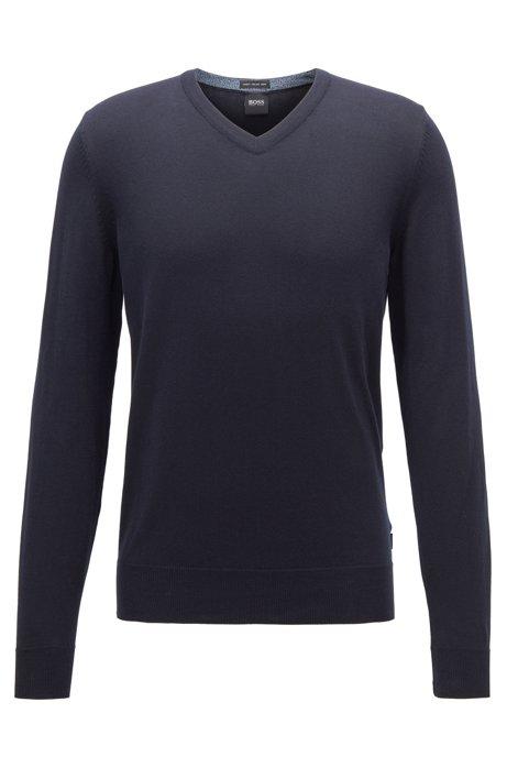 Jersey con cuello en pico de algodón puro, Azul oscuro
