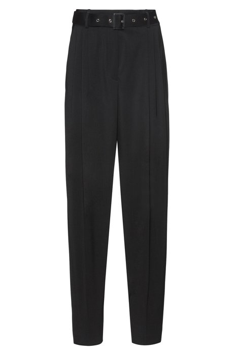 Regular-fit trousers in lightly worsted stretch wool, Black