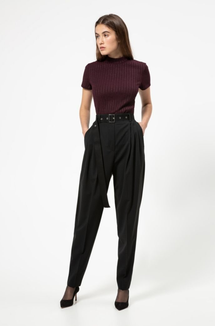 Pantalon Regular Fit en laine stretch légèrement peignée