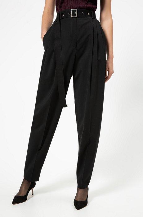 Pantalon Regular Fit en laine stretch légèrement peignée, Noir