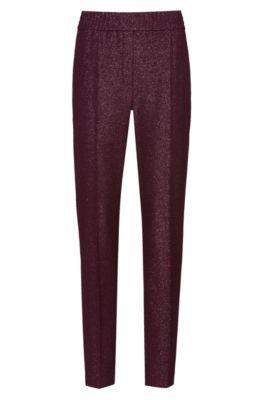 Pantalon cigarette Regular Fit en tissu stretch brillant, Violet foncé