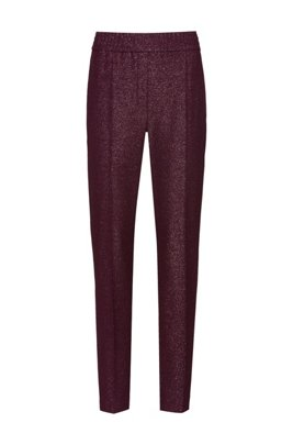 Regular-fit cigarette trousers in sparkly stretch fabric, Dark Purple