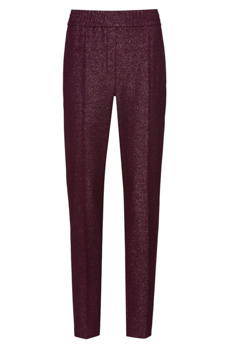 Pantalon cigarette Regular Fit en tissu stretch brillant, Violet foncé