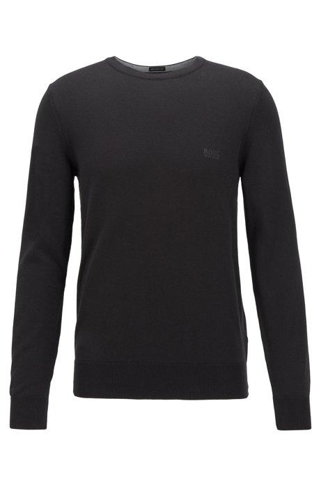 Gebreide trui met ronde hals van zuivere katoen, Zwart
