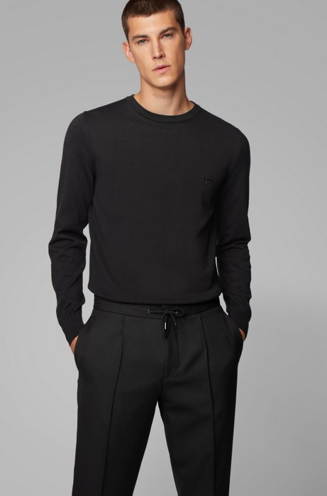 Crew-neck knitted sweater in pure cotton, Black