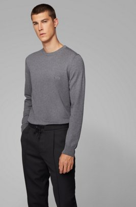Crew-neck knitted sweater in pure cotton, Grey