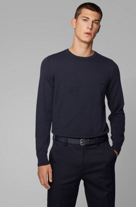 Crew-neck knitted sweater in pure cotton, Dark Blue
