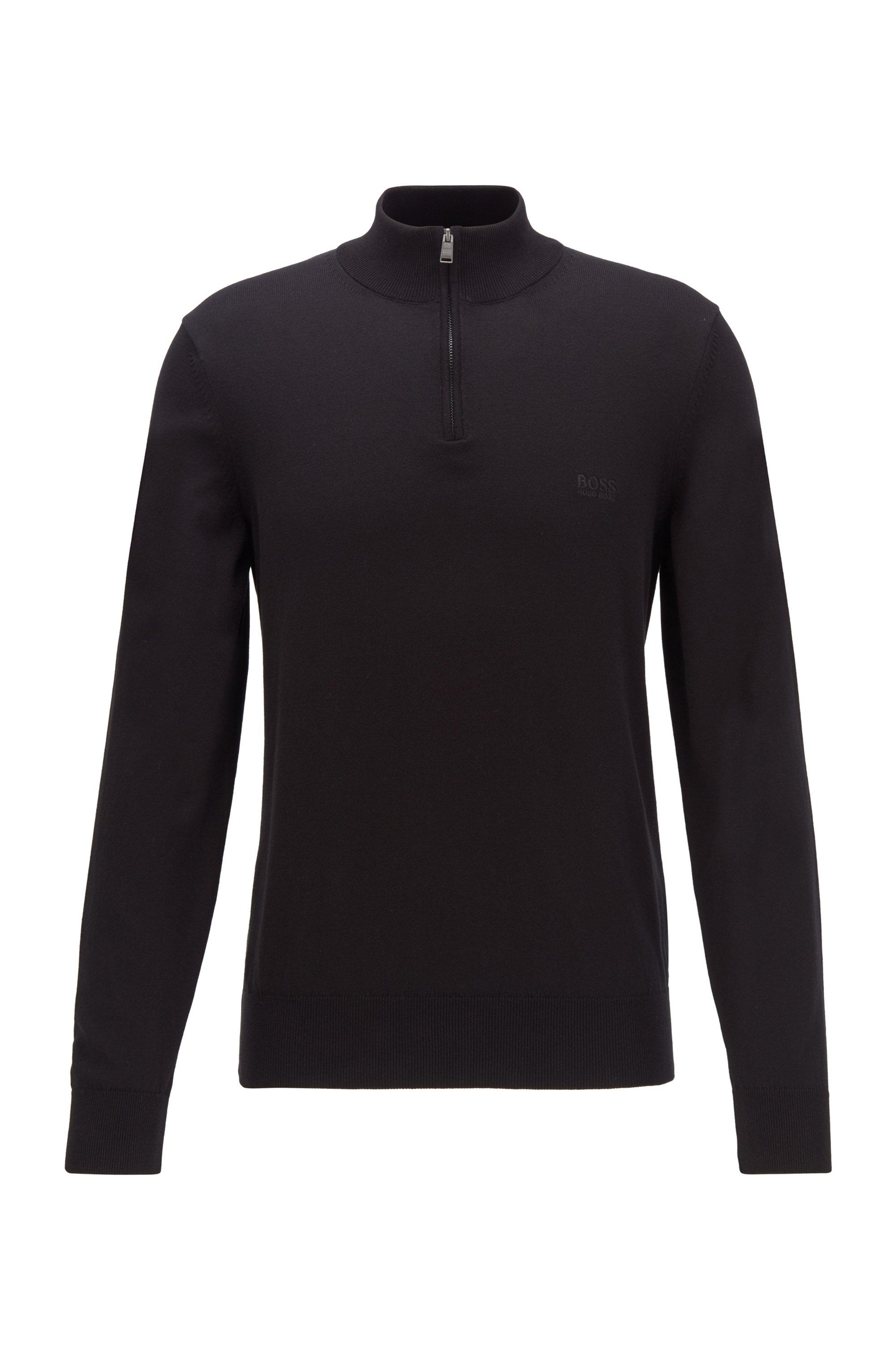 Pull à encolure zippée en pur coton avec logo brodé, Noir