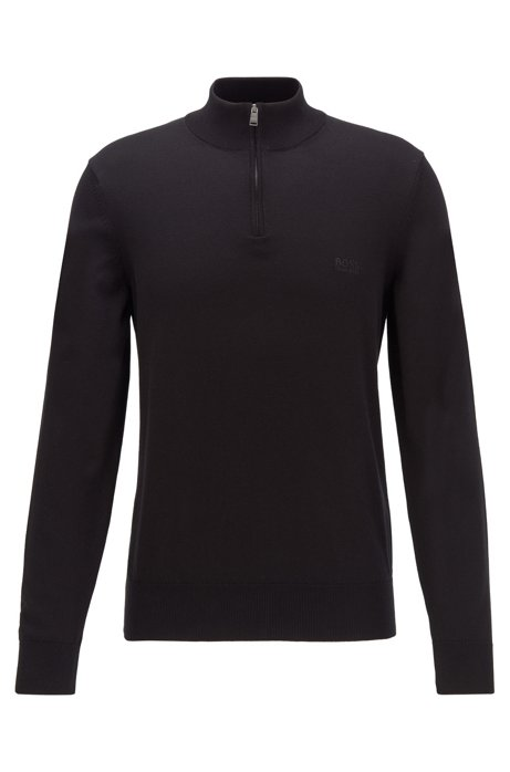 Zip-neck sweater in pure cotton with logo embroidery, Black