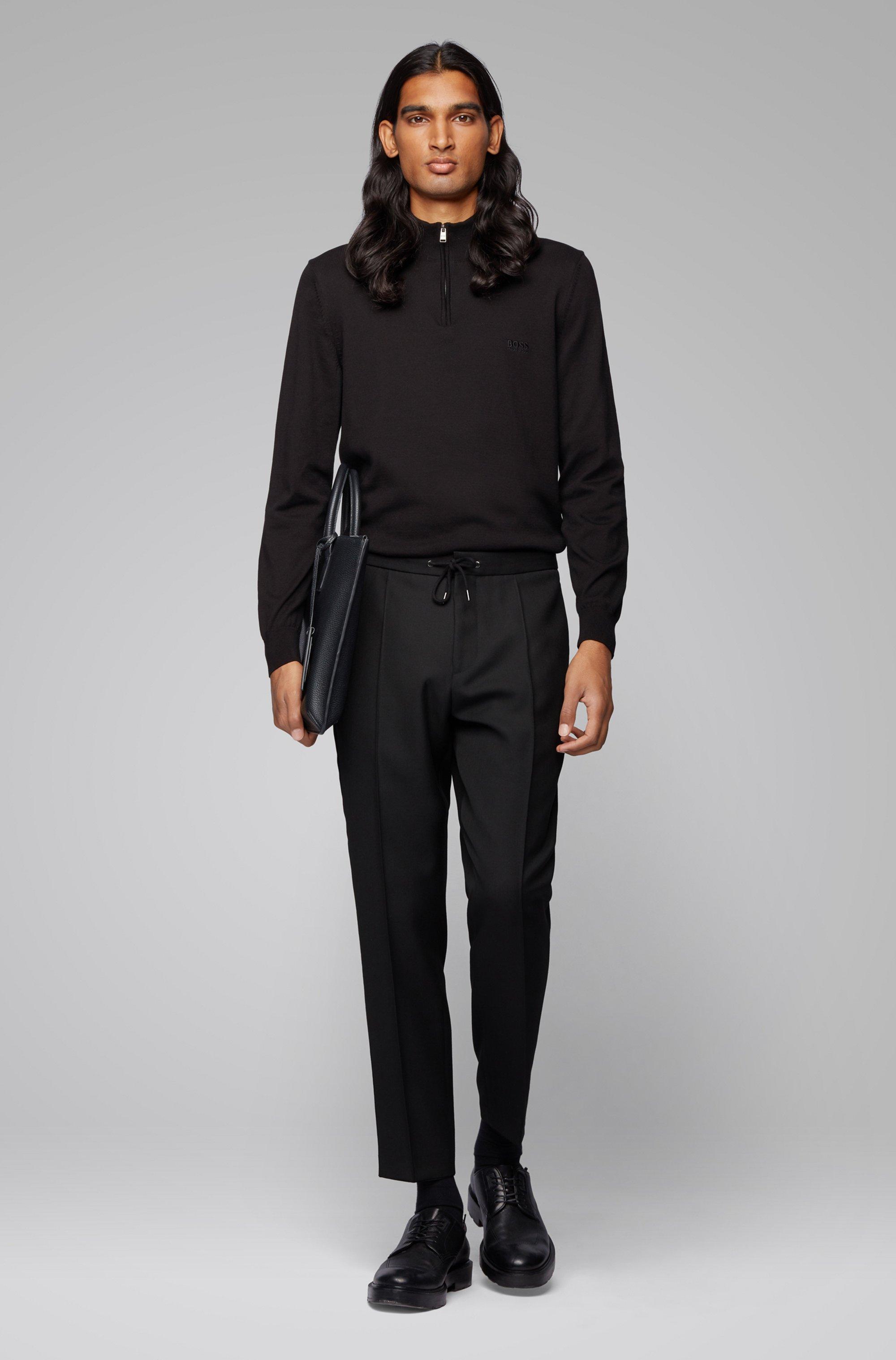 Pull à encolure zippée en pur coton avec logo brodé