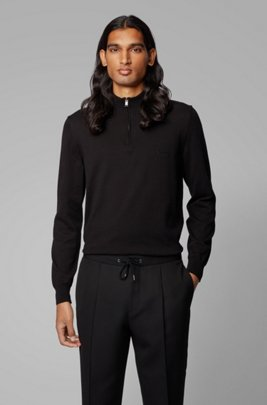 Pullover aus reiner Baumwolle mit Troyerkragen und Logo-Stickerei, Schwarz