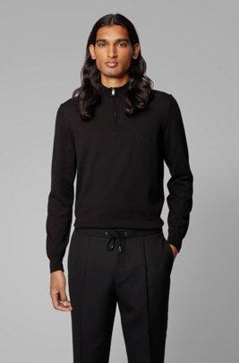 Jersey de algodón puro con cremallera en el cuello y logo bordado, Negro