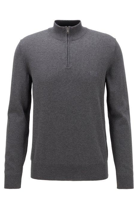 Pullover aus reiner Baumwolle mit Troyerkragen und Logo-Stickerei, Grau