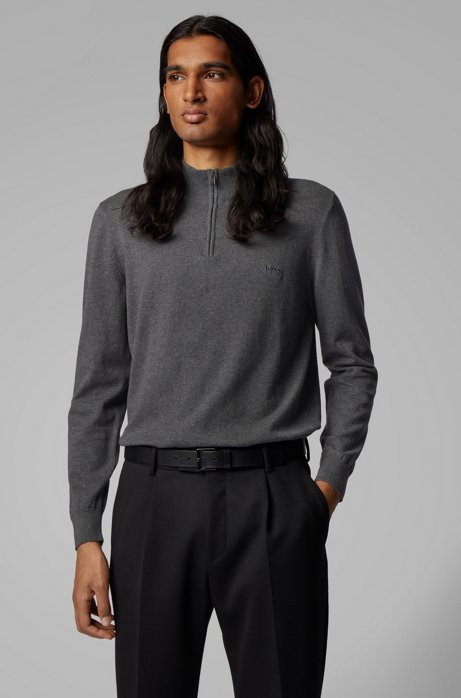 Zip-neck sweater in pure cotton with logo embroidery, Grey