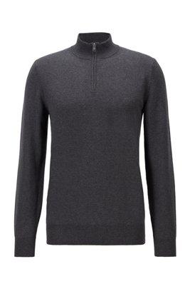 Pullover aus reiner Baumwolle mit Troyerkragen und Logo-Stickerei, Hellgrau
