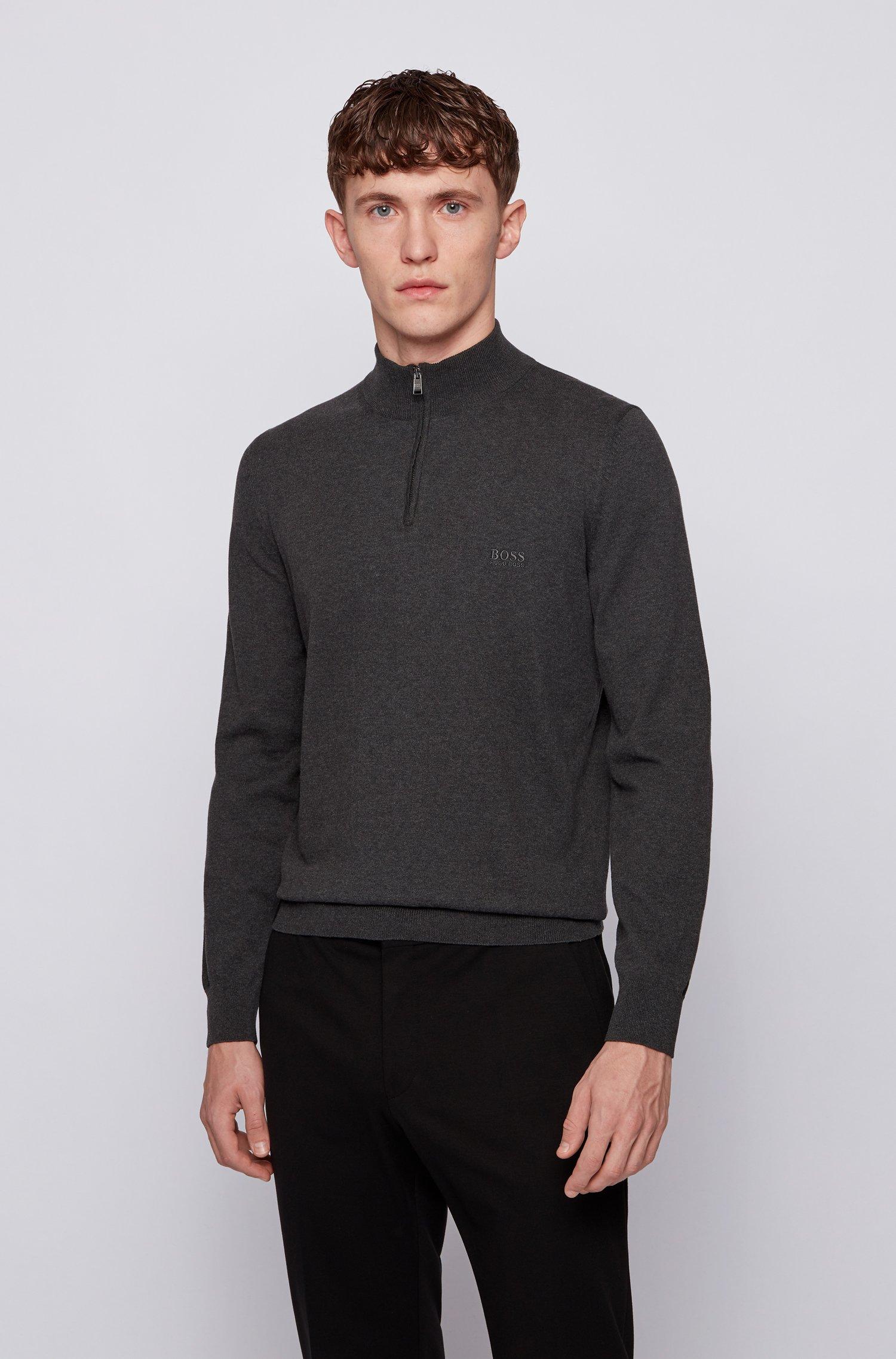 Pull à encolure zippée en pur coton avec logo brodé, Gris chiné
