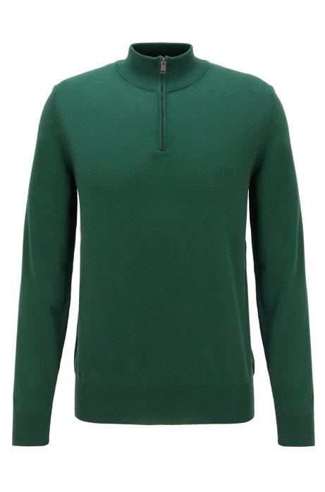 Pull à encolure zippée en pur coton avec logo brodé, Vert