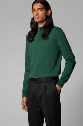 Jersey de algodón puro con cremallera en el cuello y logo bordado, Verde