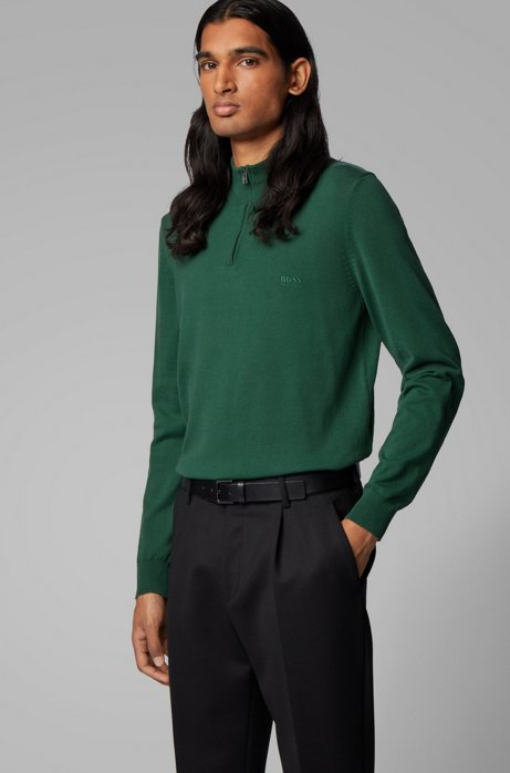 Zip-neck sweater in pure cotton with logo embroidery, Green