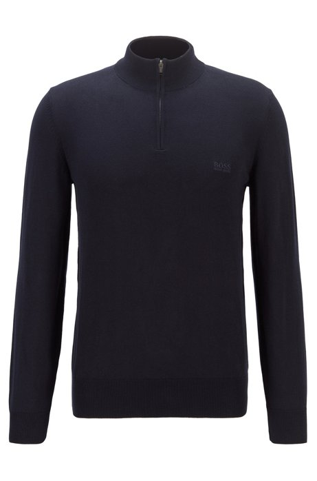 Pull à encolure zippée en pur coton avec logo brodé, Bleu foncé