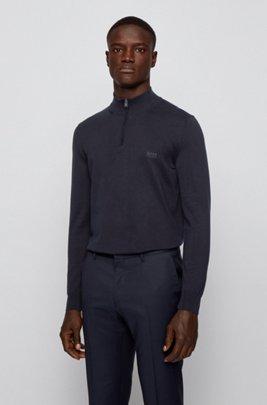 Jersey de algodón puro con cremallera en el cuello y logo bordado, Azul oscuro