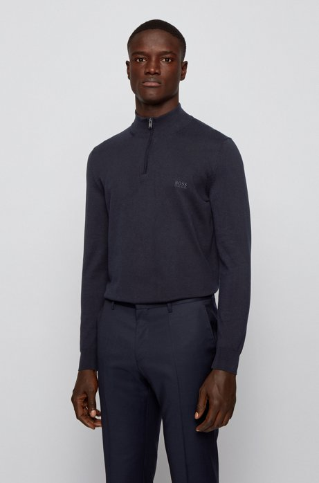 Zip-neck sweater in pure cotton with logo embroidery, Dark Blue