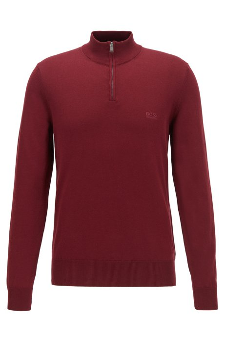 Zip-neck sweater in pure cotton with logo embroidery, Dark Red