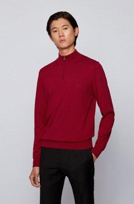 Pull à encolure zippée en pur coton avec logo brodé, Rouge sombre