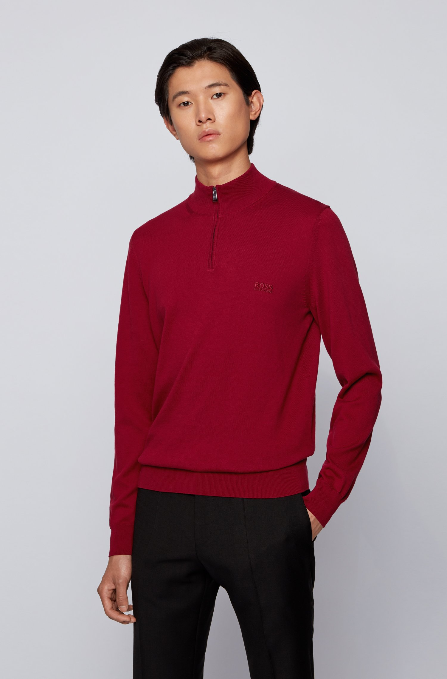 Pullover aus reiner Baumwolle mit Troyerkragen und Logo-Stickerei, Dunkelrot