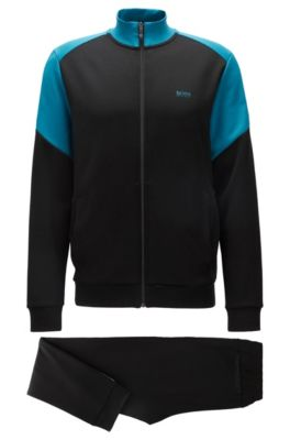 Completo da jogging regular fit a blocchi di colore, Nero