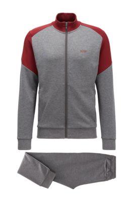 Jogginganzug aus Baumwoll-Mix mit Colour-Block-Design, Grau