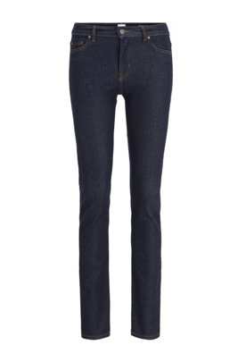 Slim-fit jeans in deep-blue denim, Dark Blue