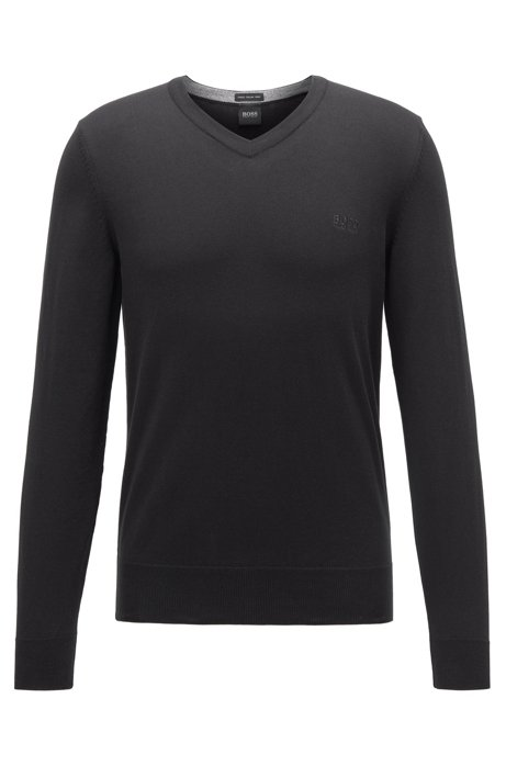 V-neck sweater in pure cotton with logo embroidery, Black