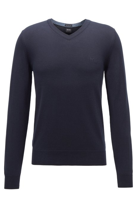 V-neck sweater in pure cotton with logo embroidery, Dark Blue