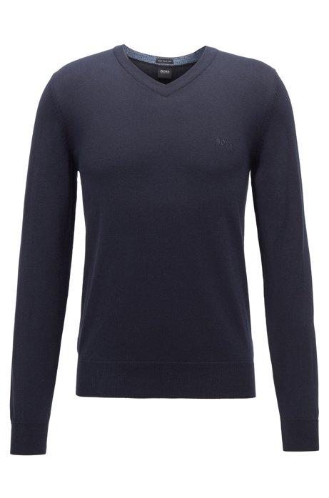 Pull à colV en pur coton avec logo brodé, Bleu foncé
