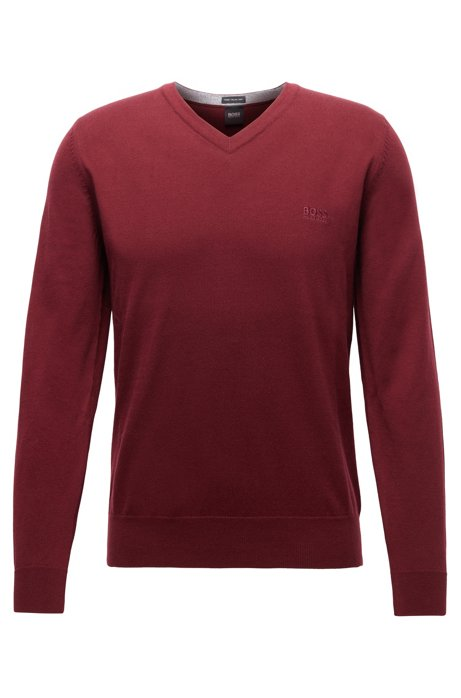 V-neck sweater in pure cotton with logo embroidery, Dark Red