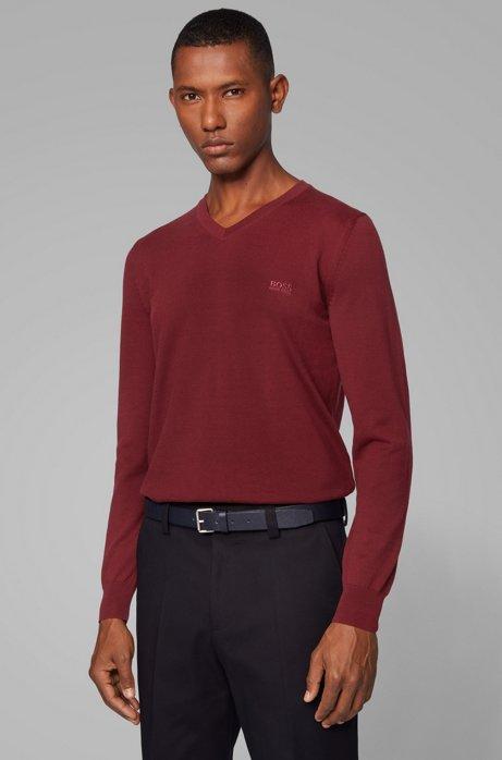 Pullover aus Baumwolle mit V-Ausschnitt und Logo-Stickerei, Dunkelrot