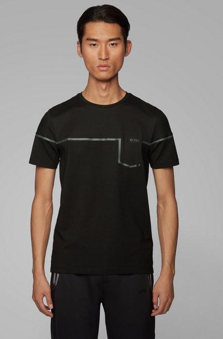 Camiseta slim fit en mezcla de materiales con S.Café®, Negro