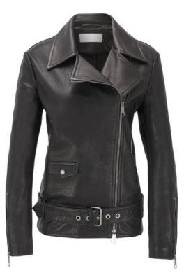 Relaxed-Fit Jacke aus Leder mit asymmetrischem Reißverschluss, Schwarz