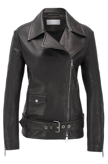 Veste Relaxed Fit en cuirs mélangés, avec fermeture éclair asymétrique, Noir
