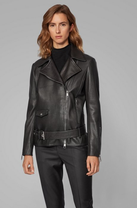 Relaxed-fit jacket in mixed leathers with asymmetric zip, Black