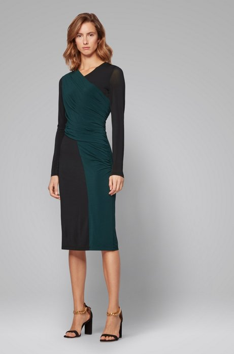 Long-sleeved jersey dress with two-tone wrap effect, Patterned