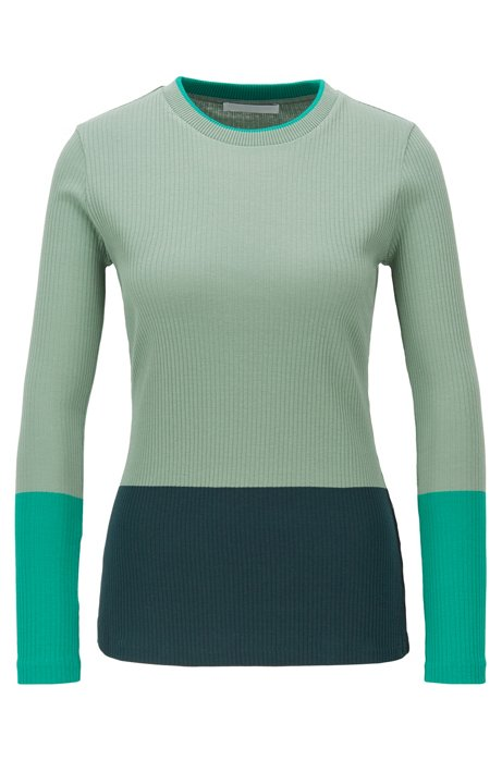 Colour-block jersey top in ribbed cotton, Patterned