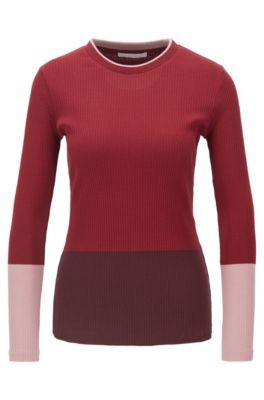 Haut en jersey de coton côtelé color block, Fantaisie