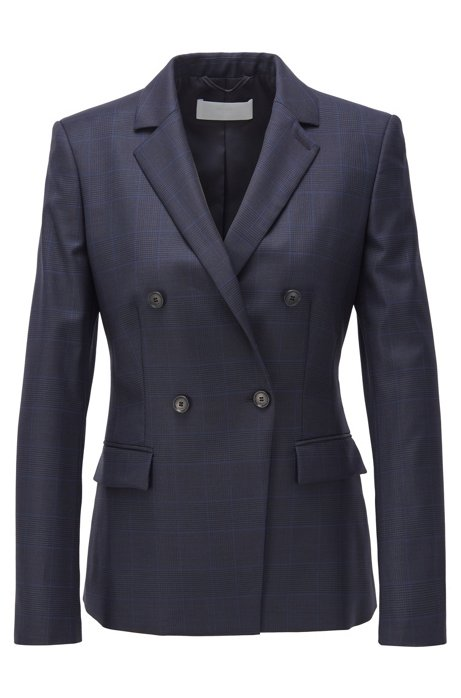 Double-breasted regular-fit jacket in checked virgin wool, Dark Blue