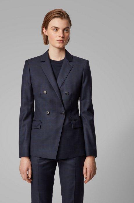 Veste croisée Regular Fit en laine vierge à carreaux, Bleu foncé