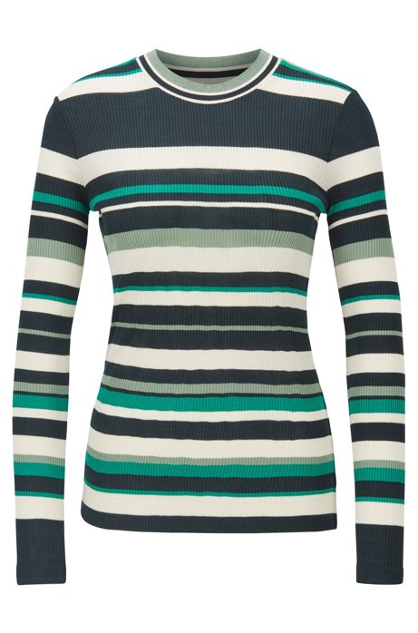 Slim-fit jersey top with collection-coloured stripes, Patterned