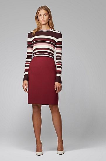 女士系列主打色条纹装饰修身针织上衣,  975_多色