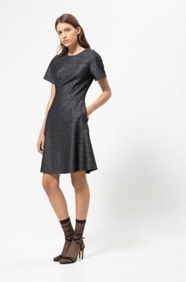 A-line dress in sparkling fabric with visible zip, Black